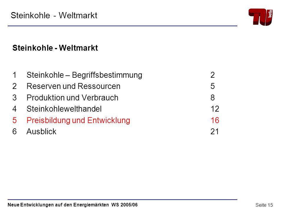 Neue Entwicklungen auf den Energiemärkten WS 2005/06 Seite 14 4.3 Steinkohlewelthandel Quelle: RWE Power Weltmarkt für Steinkohle 2005