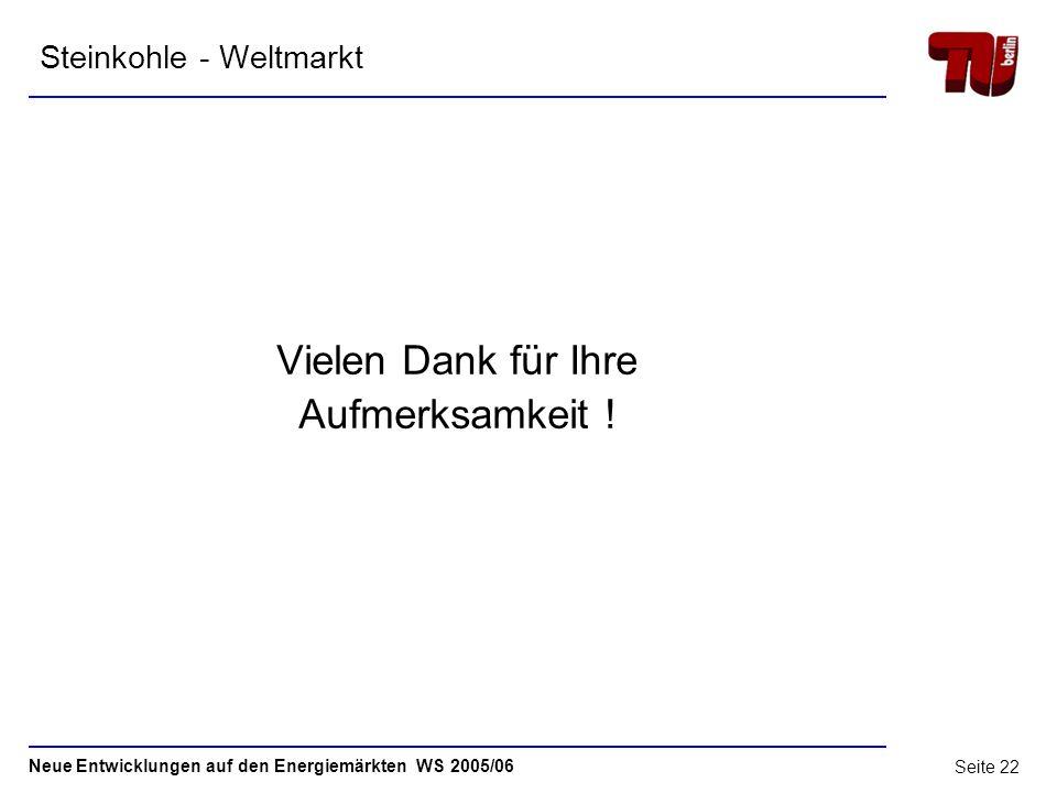 Neue Entwicklungen auf den Energiemärkten WS 2005/06 Seite 21 Steinkohlewelthandel