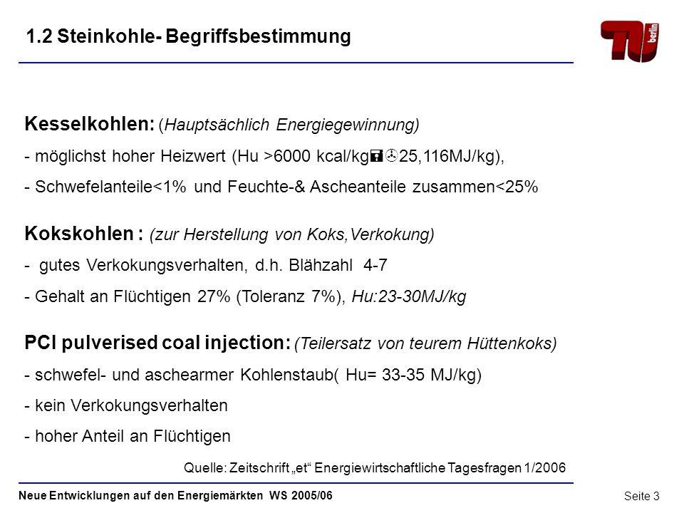 Neue Entwicklungen auf den Energiemärkten WS 2005/06 Seite 2 1.1 Steinkohle- Begriffsbestimmung Unterscheidungskriterium: Inkohlungsgrad - Graphit( C