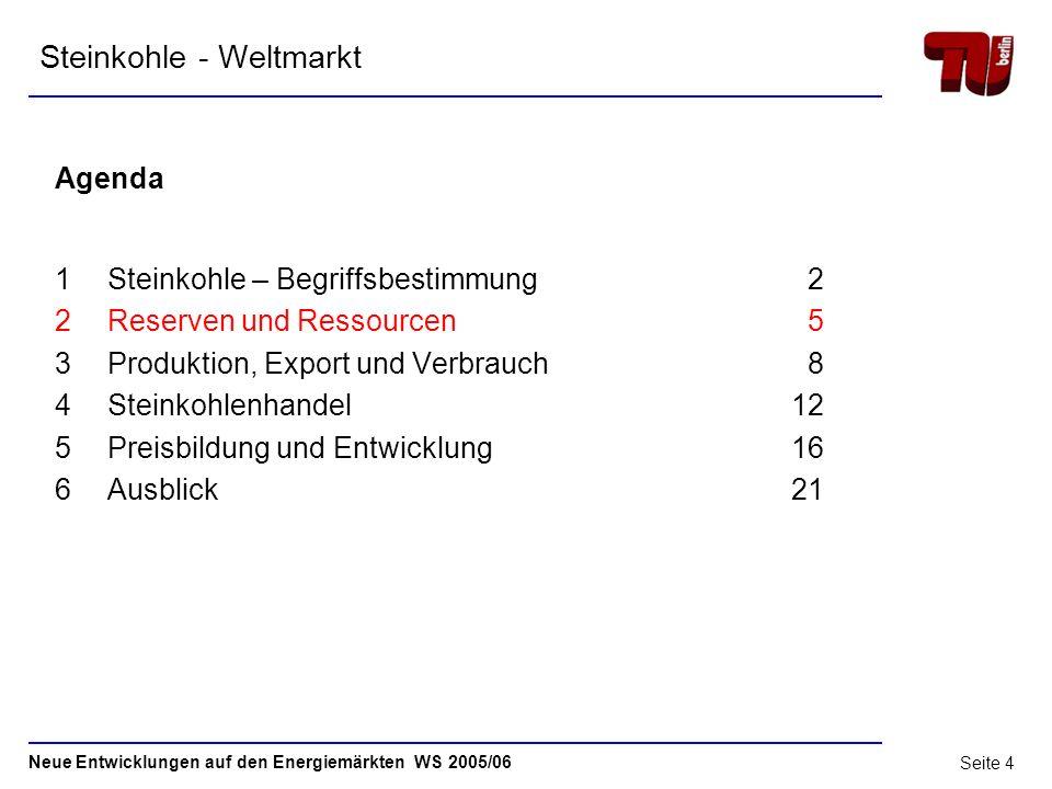 Neue Entwicklungen auf den Energiemärkten WS 2005/06 Seite 3 1.2 Steinkohle- Begriffsbestimmung Quelle: Zeitschrift et Energiewirtschaftliche Tagesfra