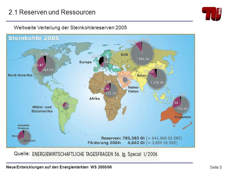 Neue Entwicklungen auf den Energiemärkten WS 2005/06 Seite 4 Steinkohle - Weltmarkt Agenda 1Steinkohle – Begriffsbestimmung 2 2Reserven und Ressourcen