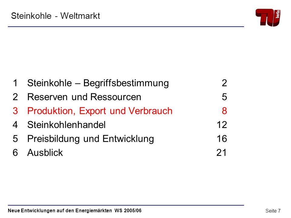 Neue Entwicklungen auf den Energiemärkten WS 2005/06 Seite 6 2.2 Reserven Weltweite Verteilung der Kohlereserven Ende 2005 Mio.t Quelle: BP Statistica