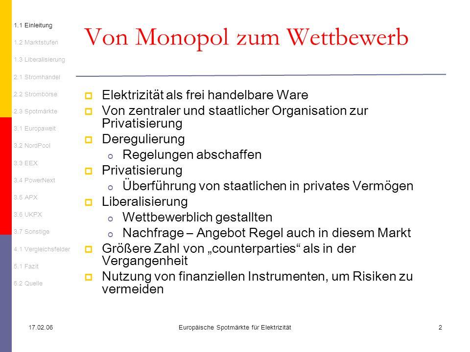 17.02.06Europäische Spotmärkte für Elektrizität2 Von Monopol zum Wettbewerb 1.1 Einleitung 1.2 Marktstufen 1.3 Liberalisierung 2.1 Stromhandel 2.2 Str
