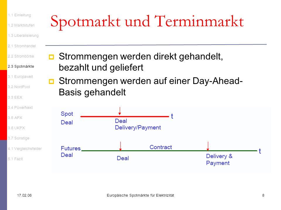 17.02.06Europäische Spotmärkte für Elektrizität8 Spotmarkt und Terminmarkt Strommengen werden direkt gehandelt, bezahlt und geliefert Strommengen werd