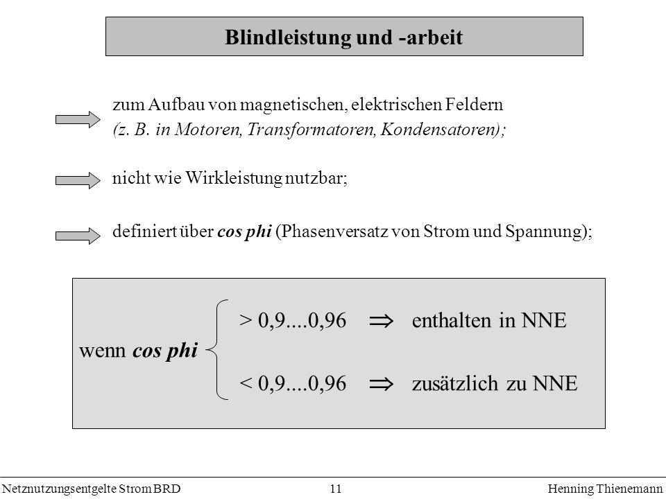 Netznutzungsentgelte Strom BRDHenning Thienemann 11 Blindleistung und -arbeit zum Aufbau von magnetischen, elektrischen Feldern (z. B. in Motoren, Tra
