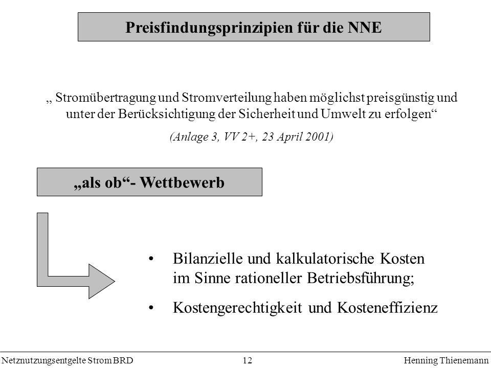 Netznutzungsentgelte Strom BRDHenning Thienemann 12 Preisfindungsprinzipien für die NNE Bilanzielle und kalkulatorische Kosten im Sinne rationeller Be