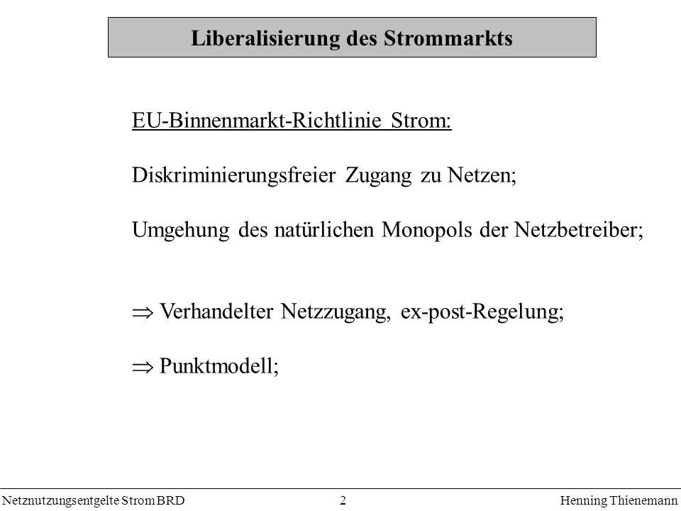 Netznutzungsentgelte Strom BRDHenning Thienemann 2 Liberalisierung des Strommarkts EU-Binnenmarkt-Richtlinie Strom: Diskriminierungsfreier Zugang zu Netzen; Umgehung des natürlichen Monopols der Netzbetreiber; Verhandelter Netzzugang, ex-post-Regelung; Punktmodell;