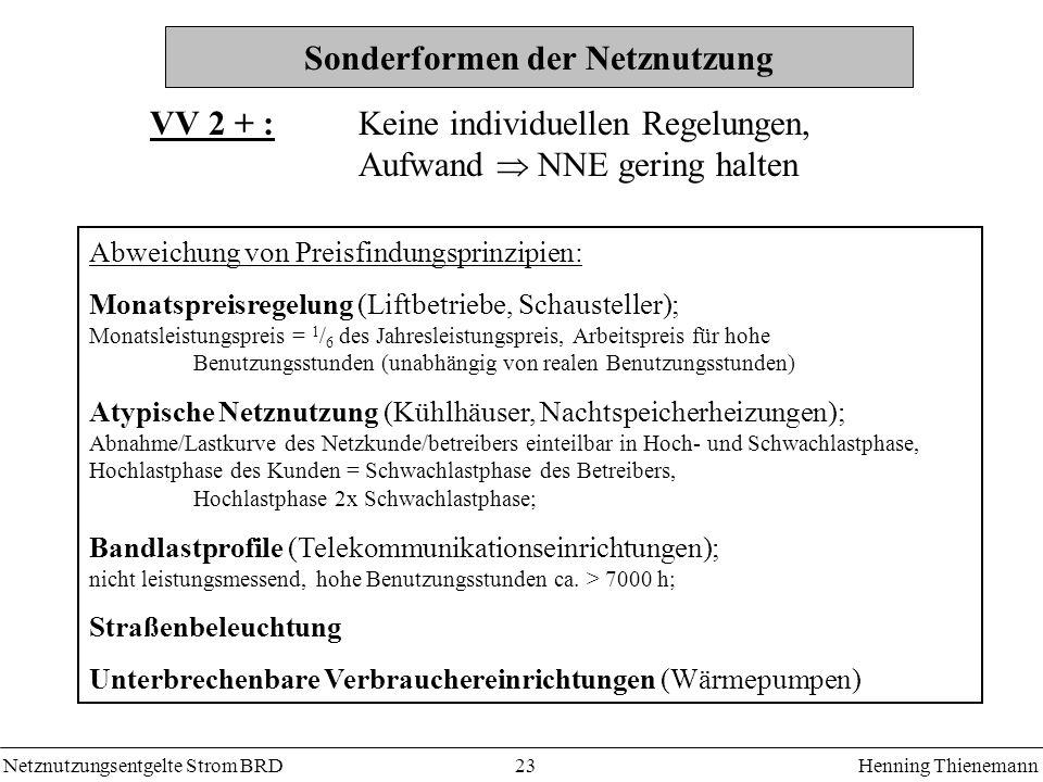 Netznutzungsentgelte Strom BRDHenning Thienemann 23 Sonderformen der Netznutzung VV 2 + : Keine individuellen Regelungen, Aufwand NNE gering halten Ab
