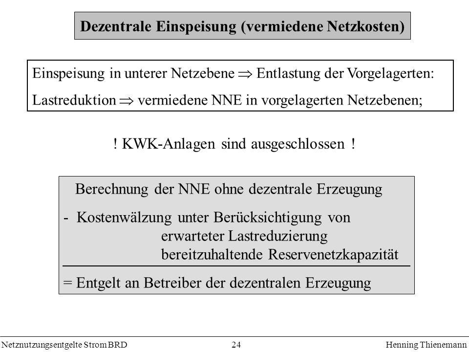 Netznutzungsentgelte Strom BRDHenning Thienemann 24 Dezentrale Einspeisung (vermiedene Netzkosten) Einspeisung in unterer Netzebene Entlastung der Vor