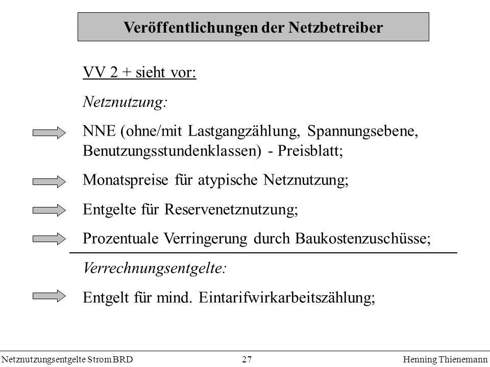 Netznutzungsentgelte Strom BRDHenning Thienemann 27 Veröffentlichungen der Netzbetreiber VV 2 + sieht vor: Netznutzung: NNE (ohne/mit Lastgangzählung,