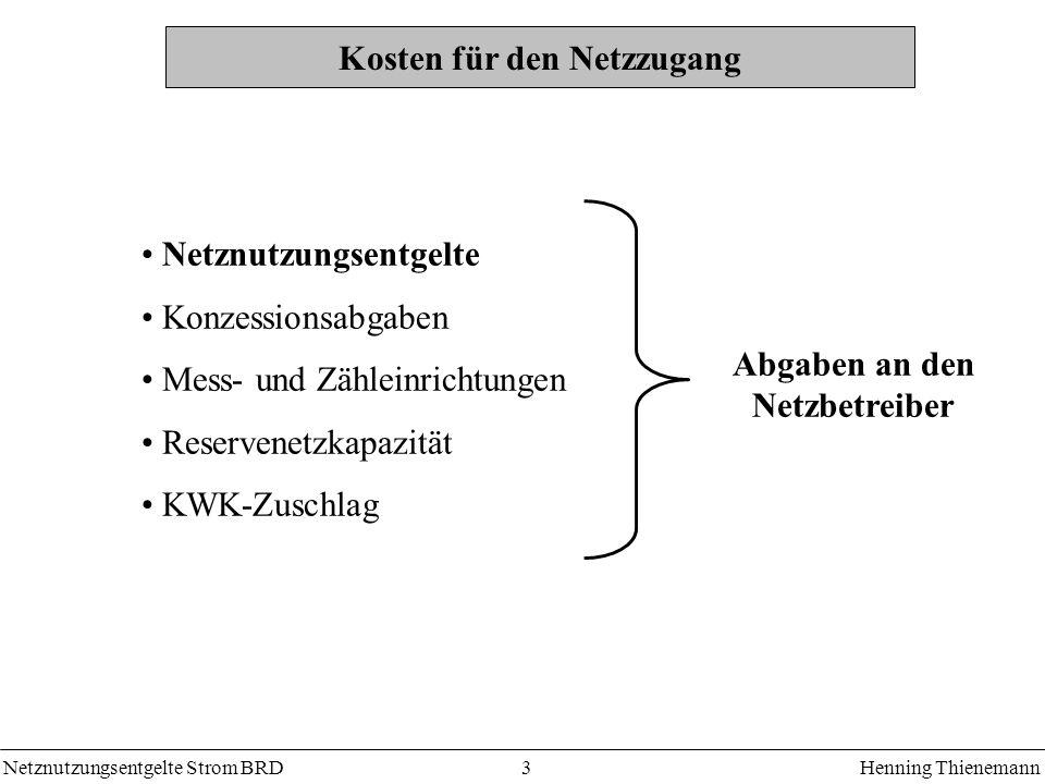 Netznutzungsentgelte Strom BRDHenning Thienemann 3 Kosten für den Netzzugang Netznutzungsentgelte Konzessionsabgaben Mess- und Zähleinrichtungen Reservenetzkapazität KWK-Zuschlag Abgaben an den Netzbetreiber