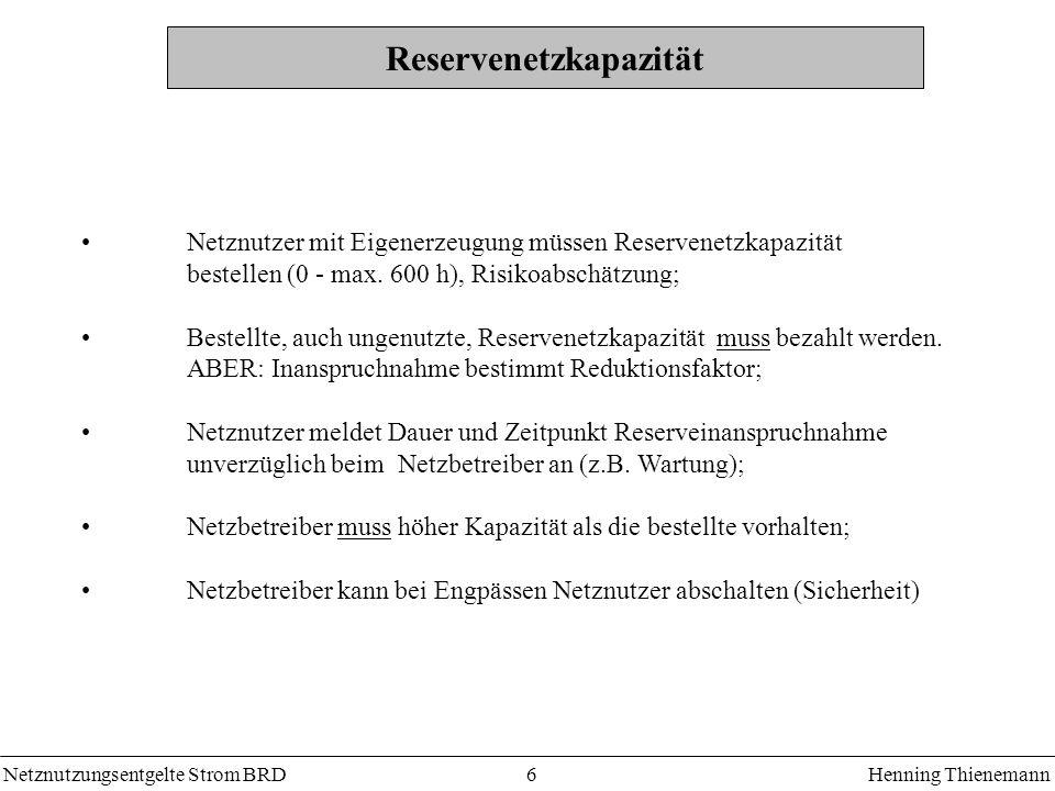 Netznutzungsentgelte Strom BRDHenning Thienemann 7 KWK-Zulage Zuschlag für die Erhaltung, Modernisierung und den Ausbau der Kraft-Wärme-Kopplung: Ausgleichszahlungen nach BWK-Gesetz Bsp.: Bewag AG < 100 000 kWh/a : 0,26 Ct/kWh > 100 000 kWh/a : 0,05 Ct/kWh > 100 000 kWh/a : 0,025 Ct/kWh (ermäßigt) KWK1 KWK2 KWK3 Netzbetreiber Ausgleichszahlungen Ct/kWh Kunde Zuschlagszahlungen Ct/kWhÜNB