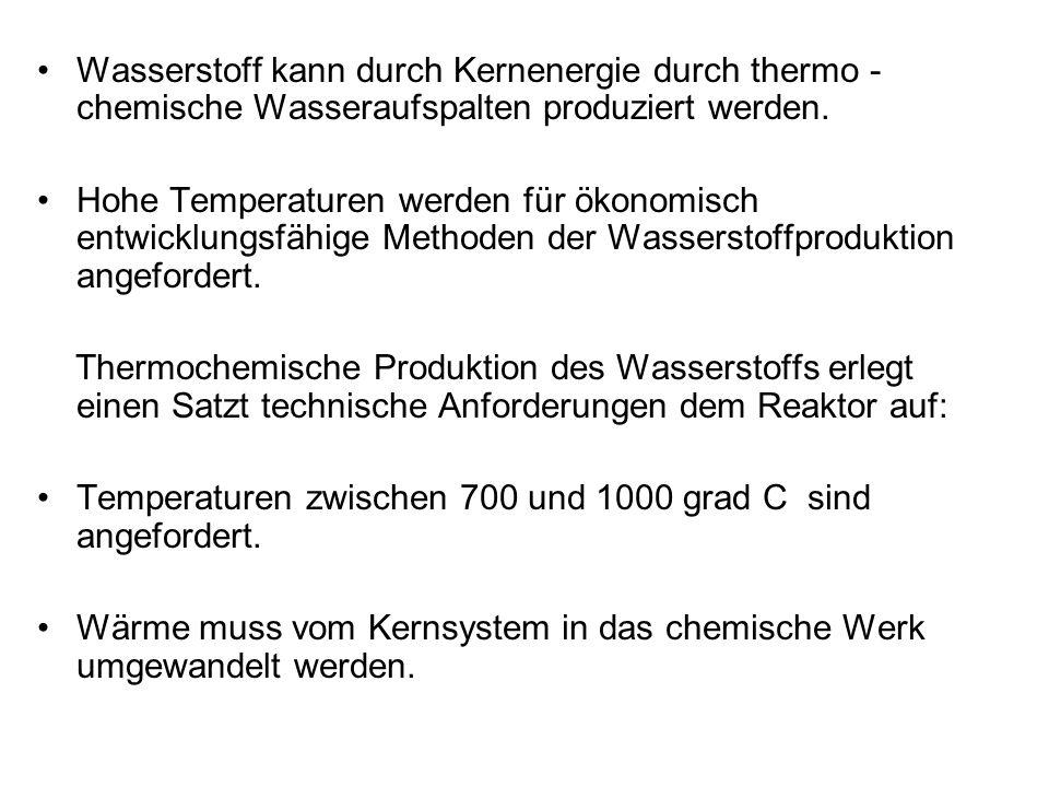 Wasserstoff kann durch Kernenergie durch thermo - chemische Wasseraufspalten produziert werden. Hohe Temperaturen werden für ökonomisch entwicklungsfä