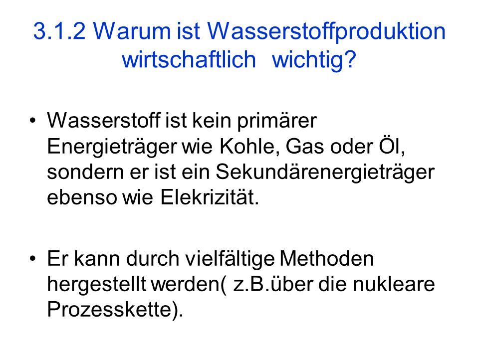 3.1.2 Warum ist Wasserstoffproduktion wirtschaftlich wichtig? Wasserstoff ist kein primärer Energieträger wie Kohle, Gas oder Öl, sondern er ist ein S