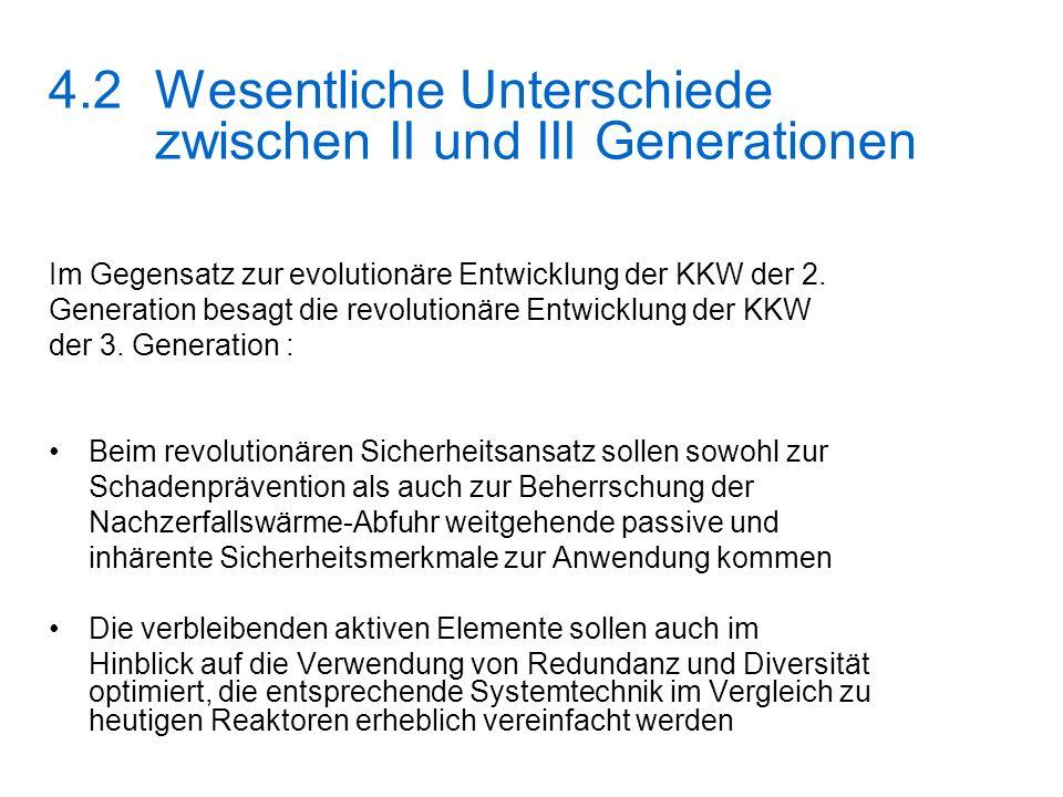 4.2Wesentliche Unterschiede zwischen II und III Generationen Im Gegensatz zur evolutionäre Entwicklung der KKW der 2. Generation besagt die revolution