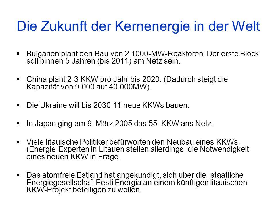 Bulgarien plant den Bau von 2 1000-MW-Reaktoren. Der erste Block soll binnen 5 Jahren (bis 2011) am Netz sein. China plant 2-3 KKW pro Jahr bis 2020.