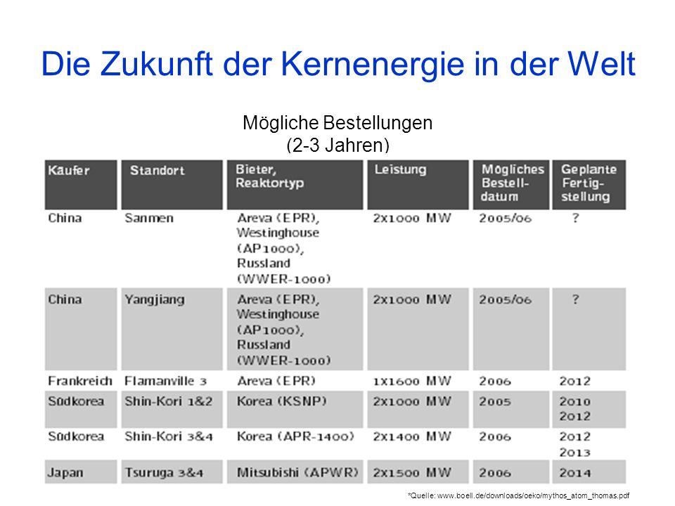 Mögliche Bestellungen (2-3 Jahren) Die Zukunft der Kernenergie in der Welt *Quelle: www.boell.de/downloads/oeko/mythos_atom_thomas.pdf