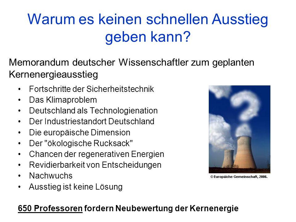 Memorandum deutscher Wissenschaftler zum geplanten Kernenergieausstieg Fortschritte der Sicherheitstechnik Das Klimaproblem Deutschland als Technologi