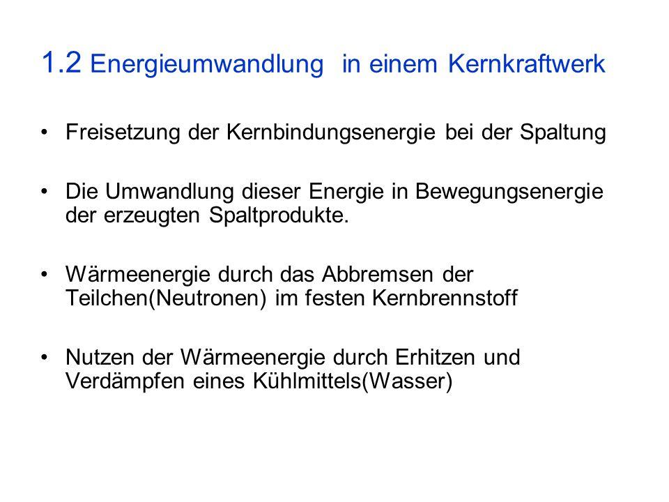 1.2 Energieumwandlung in einem Kernkraftwerk Freisetzung der Kernbindungsenergie bei der Spaltung Die Umwandlung dieser Energie in Bewegungsenergie de