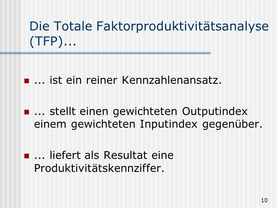 10 Die Totale Faktorproduktivitätsanalyse (TFP)...... ist ein reiner Kennzahlenansatz.... stellt einen gewichteten Outputindex einem gewichteten Input