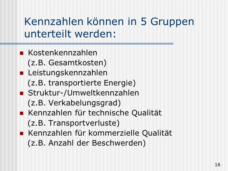 16 Kennzahlen können in 5 Gruppen unterteilt werden: Kostenkennzahlen (z.B. Gesamtkosten) Leistungskennzahlen (z.B. transportierte Energie) Struktur-/