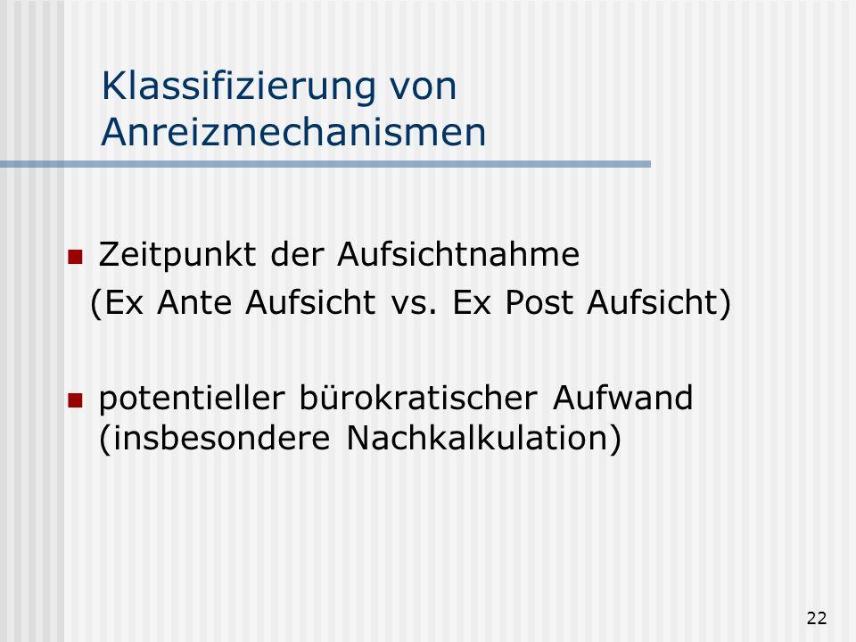 22 Klassifizierung von Anreizmechanismen Zeitpunkt der Aufsichtnahme (Ex Ante Aufsicht vs. Ex Post Aufsicht) potentieller bürokratischer Aufwand (insb