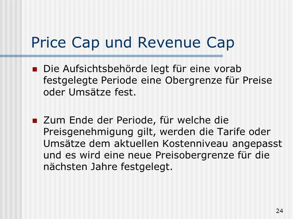 24 Price Cap und Revenue Cap Die Aufsichtsbehörde legt für eine vorab festgelegte Periode eine Obergrenze für Preise oder Umsätze fest.