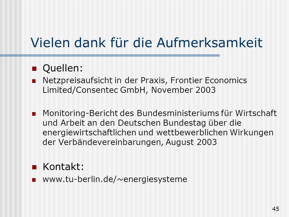 45 Vielen dank für die Aufmerksamkeit Quellen: Netzpreisaufsicht in der Praxis, Frontier Economics Limited/Consentec GmbH, November 2003 Monitoring-Be