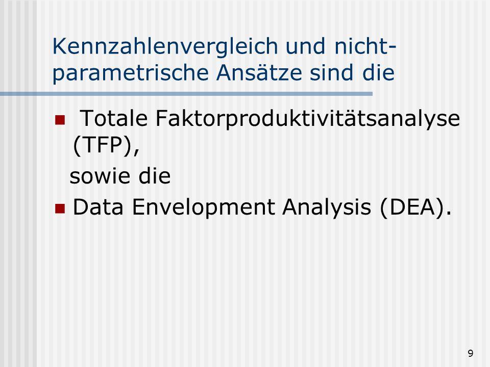 9 Kennzahlenvergleich und nicht- parametrische Ansätze sind die Totale Faktorproduktivitätsanalyse (TFP), sowie die Data Envelopment Analysis (DEA).