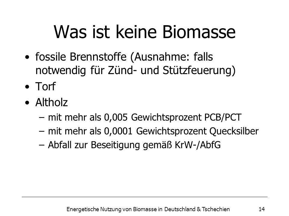 Energetische Nutzung von Biomasse in Deutschland & Tschechien14 Was ist keine Biomasse fossile Brennstoffe (Ausnahme: falls notwendig für Zünd- und Stützfeuerung) Torf Altholz –mit mehr als 0,005 Gewichtsprozent PCB/PCT –mit mehr als 0,0001 Gewichtsprozent Quecksilber –Abfall zur Beseitigung gemäß KrW-/AbfG