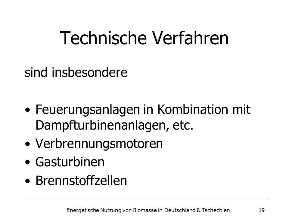 Energetische Nutzung von Biomasse in Deutschland & Tschechien19 Technische Verfahren sind insbesondere Feuerungsanlagen in Kombination mit Dampfturbinenanlagen, etc.