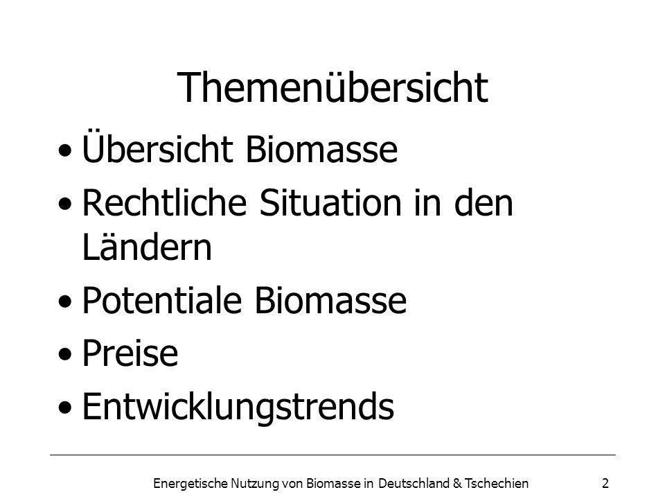 Energetische Nutzung von Biomasse in Deutschland & Tschechien2 Themenübersicht Übersicht Biomasse Rechtliche Situation in den Ländern Potentiale Biomasse Preise Entwicklungstrends