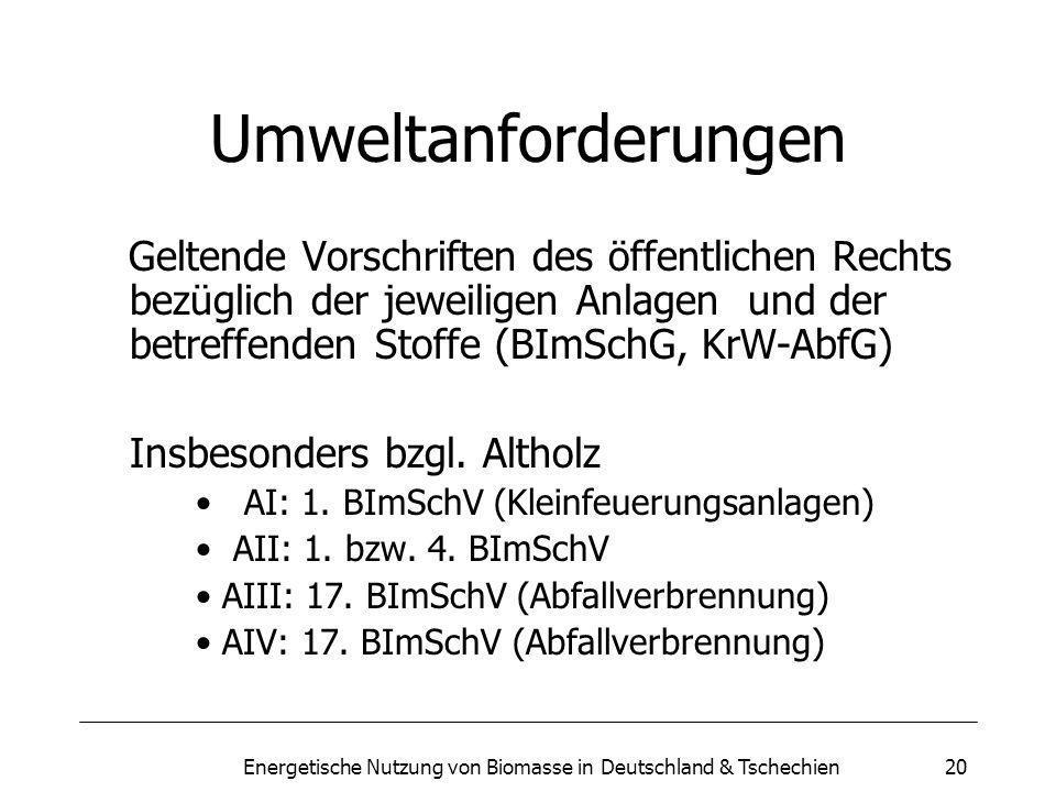 Energetische Nutzung von Biomasse in Deutschland & Tschechien20 Umweltanforderungen Geltende Vorschriften des öffentlichen Rechts bezüglich der jeweiligen Anlagen und der betreffenden Stoffe (BImSchG, KrW-AbfG) Insbesonders bzgl.