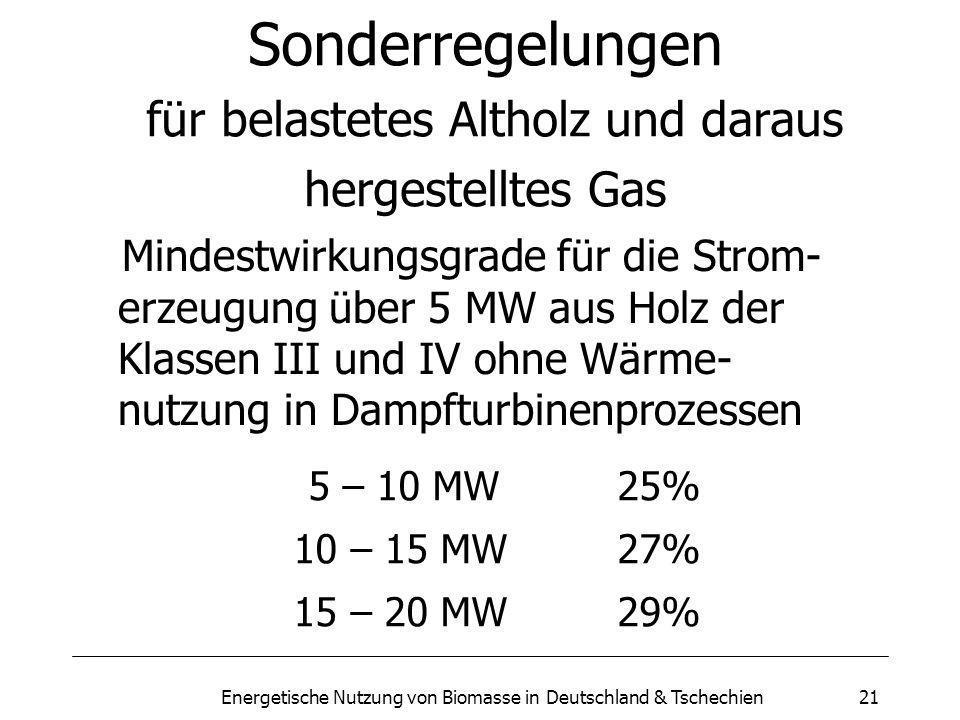 Energetische Nutzung von Biomasse in Deutschland & Tschechien21 Sonderregelungen für belastetes Altholz und daraus hergestelltes Gas Mindestwirkungsgrade für die Strom- erzeugung über 5 MW aus Holz der Klassen III und IV ohne Wärme- nutzung in Dampfturbinenprozessen 5 – 10 MW25% 10 – 15 MW27% 15 – 20 MW29%