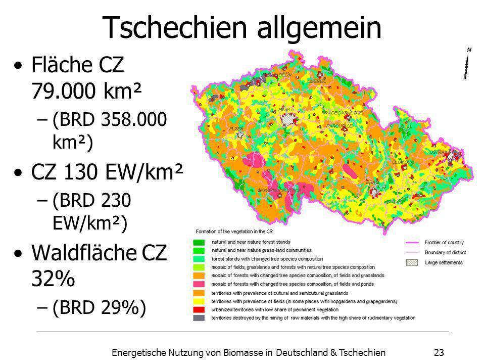 Energetische Nutzung von Biomasse in Deutschland & Tschechien23 Tschechien allgemein Fläche CZ 79.000 km² –(BRD 358.000 km²) CZ 130 EW/km² –(BRD 230 EW/km²) Waldfläche CZ 32% –(BRD 29%)