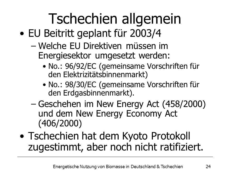 Energetische Nutzung von Biomasse in Deutschland & Tschechien24 Tschechien allgemein EU Beitritt geplant für 2003/4 –Welche EU Direktiven müssen im Energiesektor umgesetzt werden: No.: 96/92/EC (gemeinsame Vorschriften für den Elektrizitätsbinnenmarkt) No.: 98/30/EC (gemeinsame Vorschriften für den Erdgasbinnenmarkt).