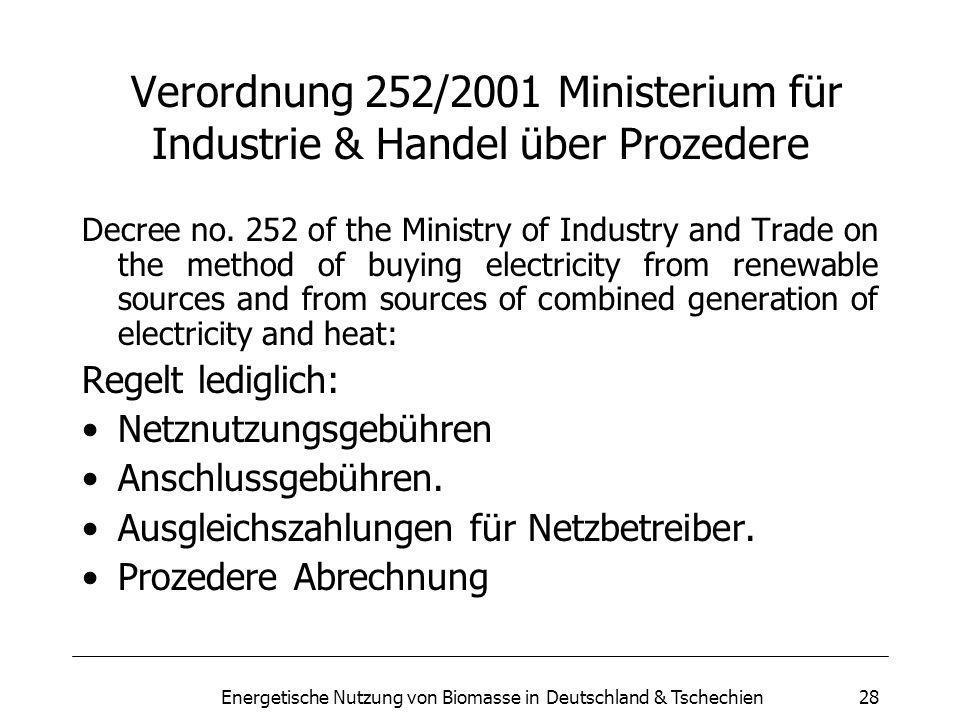 Energetische Nutzung von Biomasse in Deutschland & Tschechien28 Verordnung 252/2001 Ministerium für Industrie & Handel über Prozedere Decree no.