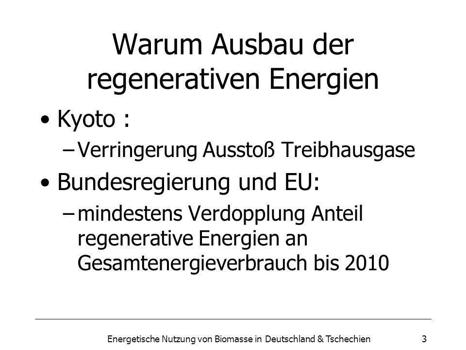 Energetische Nutzung von Biomasse in Deutschland & Tschechien3 Warum Ausbau der regenerativen Energien Kyoto : –Verringerung Ausstoß Treibhausgase Bundesregierung und EU: –mindestens Verdopplung Anteil regenerative Energien an Gesamtenergieverbrauch bis 2010