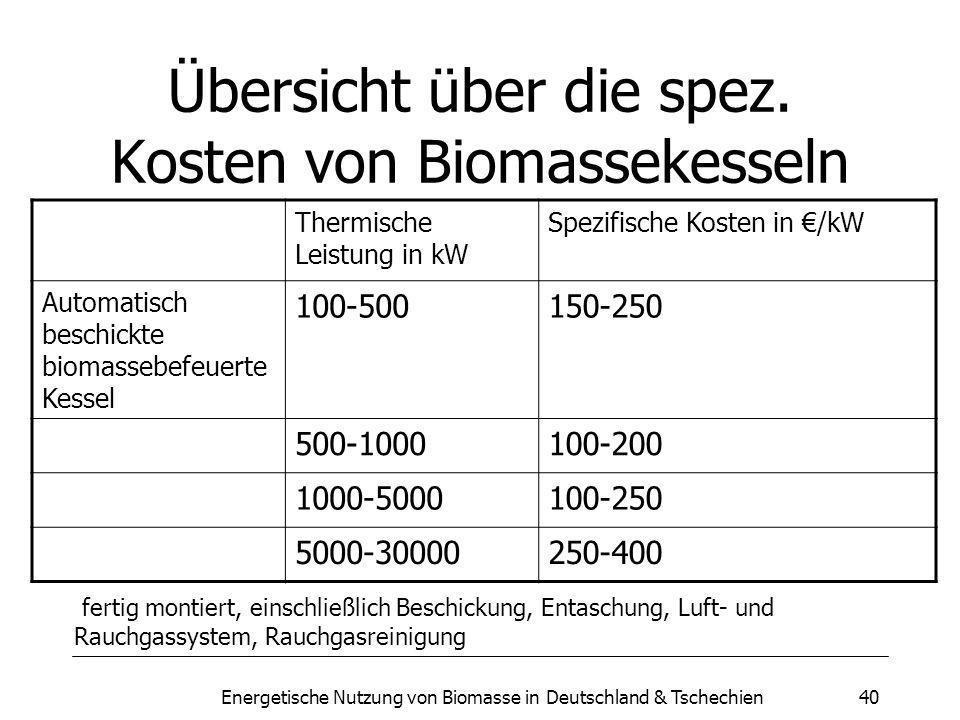 Energetische Nutzung von Biomasse in Deutschland & Tschechien40 Übersicht über die spez.