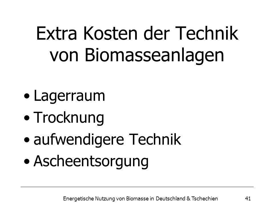 Energetische Nutzung von Biomasse in Deutschland & Tschechien41 Extra Kosten der Technik von Biomasseanlagen Lagerraum Trocknung aufwendigere Technik Ascheentsorgung