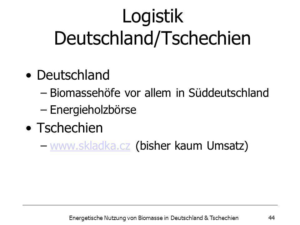 Energetische Nutzung von Biomasse in Deutschland & Tschechien44 Logistik Deutschland/Tschechien Deutschland –Biomassehöfe vor allem in Süddeutschland –Energieholzbörse Tschechien –www.skladka.cz (bisher kaum Umsatz)www.skladka.cz