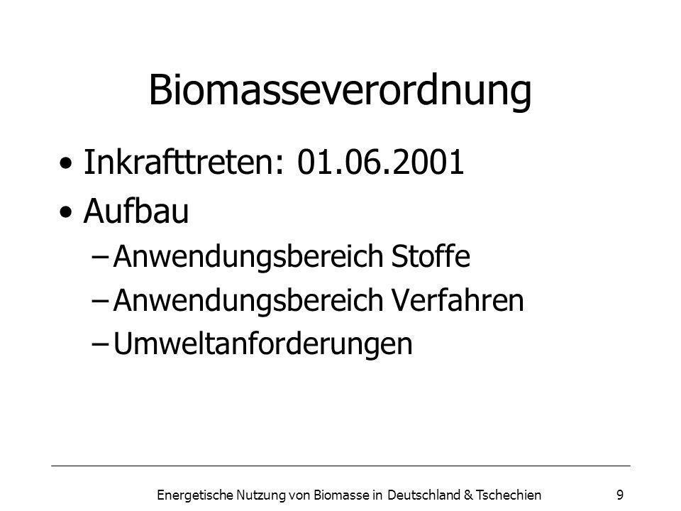 Energetische Nutzung von Biomasse in Deutschland & Tschechien9 Biomasseverordnung Inkrafttreten: 01.06.2001 Aufbau –Anwendungsbereich Stoffe –Anwendungsbereich Verfahren –Umweltanforderungen