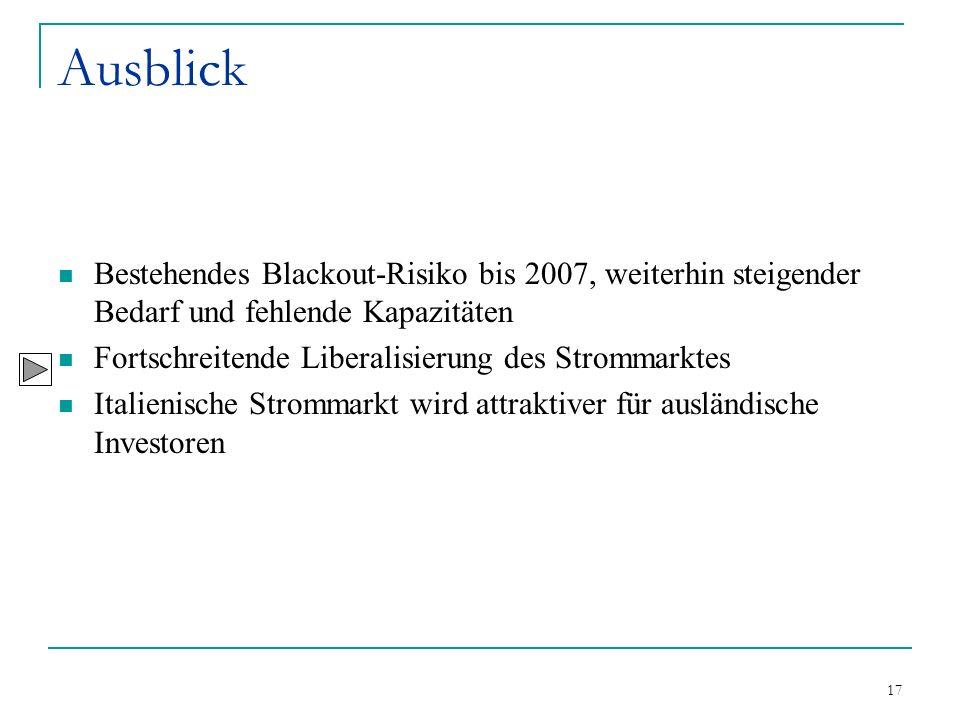 17 Ausblick Bestehendes Blackout-Risiko bis 2007, weiterhin steigender Bedarf und fehlende Kapazitäten Fortschreitende Liberalisierung des Strommarkte