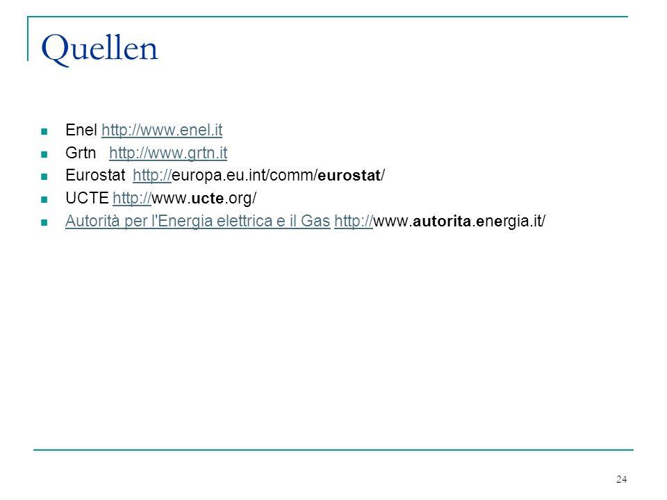24 Quellen Enel http://www.enel.ithttp://www.enel.it Grtn http://www.grtn.ithttp://www.grtn.it Eurostat http://europa.eu.int/comm/eurostat/http:// UCT