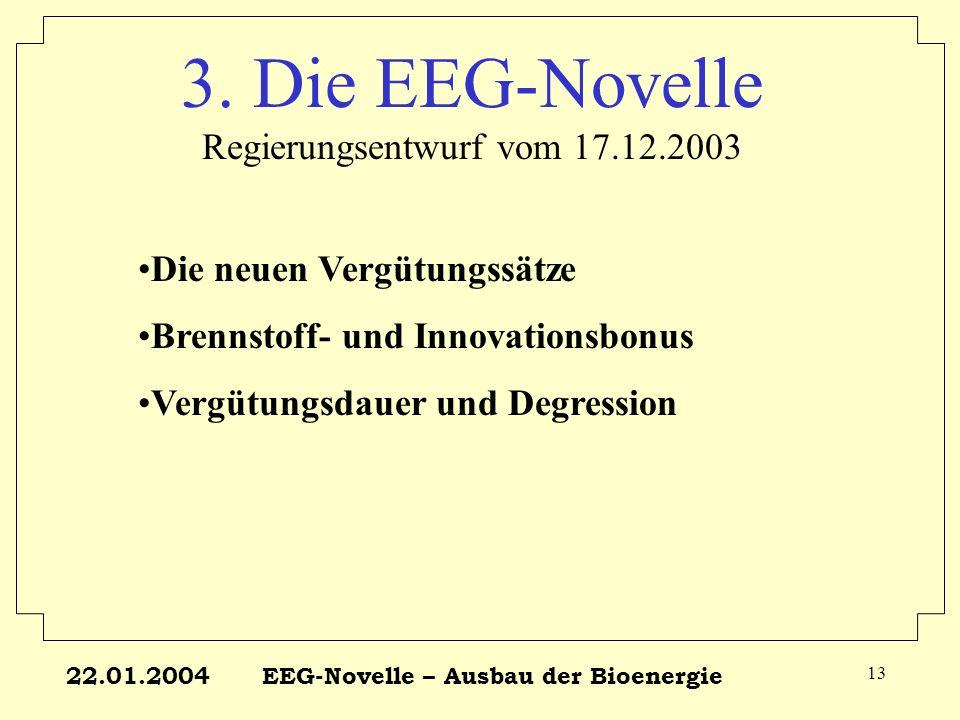 22.01.2004EEG-Novelle – Ausbau der Bioenergie 13 3. Die EEG-Novelle Regierungsentwurf vom 17.12.2003 Die neuen Vergütungssätze Brennstoff- und Innovat
