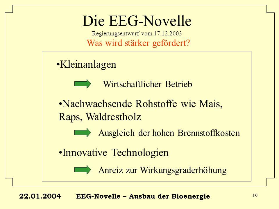 22.01.2004EEG-Novelle – Ausbau der Bioenergie 19 Die EEG-Novelle Regierungsentwurf vom 17.12.2003 Was wird stärker gefördert? Kleinanlagen Innovative