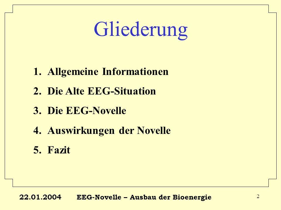 22.01.2004EEG-Novelle – Ausbau der Bioenergie 2 Gliederung 1.Allgemeine Informationen 2.Die Alte EEG-Situation 3.Die EEG-Novelle 4.Auswirkungen der No