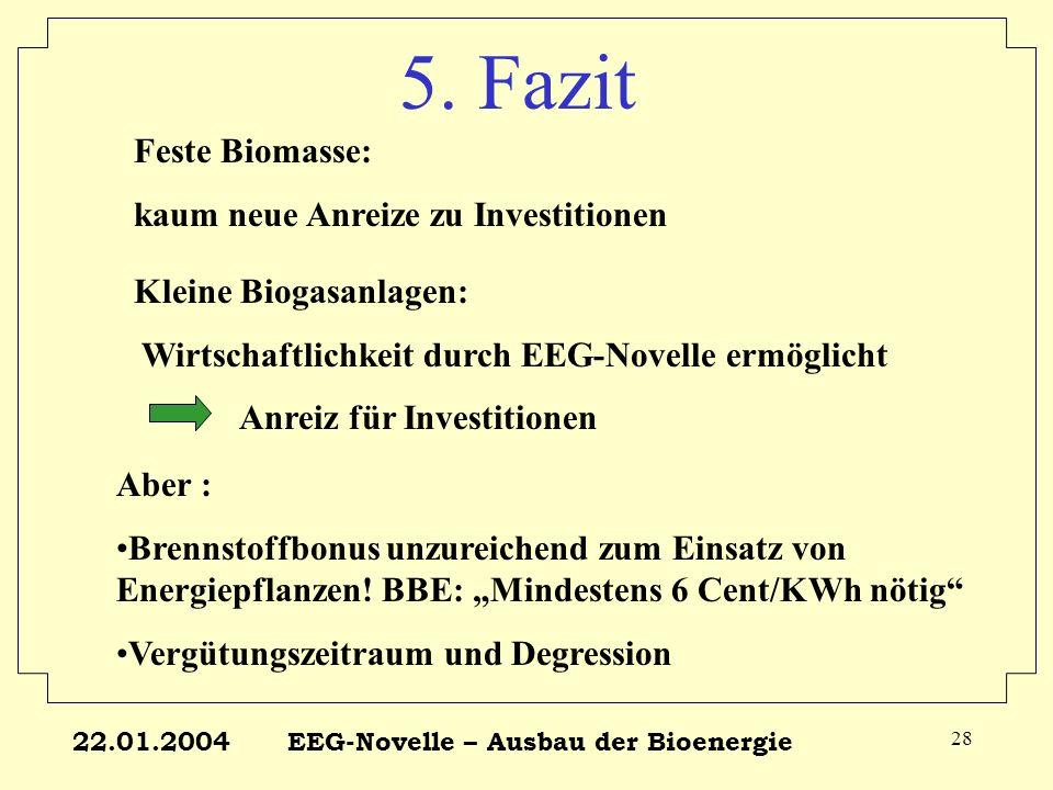 22.01.2004EEG-Novelle – Ausbau der Bioenergie 28 5. Fazit Feste Biomasse: kaum neue Anreize zu Investitionen Kleine Biogasanlagen: Wirtschaftlichkeit