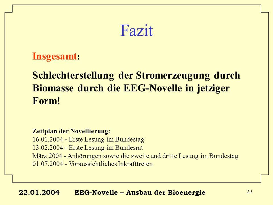 22.01.2004EEG-Novelle – Ausbau der Bioenergie 29 Fazit Insgesamt : Schlechterstellung der Stromerzeugung durch Biomasse durch die EEG-Novelle in jetzi