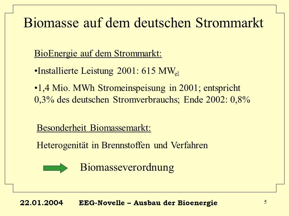 22.01.2004EEG-Novelle – Ausbau der Bioenergie 26 Modellanlagen Biogas LeistungBeschreibungEinsatzstoffBonus 25 KWEinzelhofanlage,ca.150 GroßvieheinheitenNur Gülle BS 70 KWKleine GemeinschaftsanlageNur Gülle BS 150 KWmittelgroße Gemeinschaftsanlage Nur Gülle BS 70% Gülle 30% Mais BS 70% Gülle 30%Abfallfette - 500 KWgroße Gemeinschaftsanlage Nur Gülle BS 70% Gülle 30% Mais BS 70% Gülle 30%Abfallfette -
